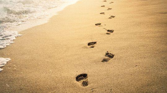 Caminar desacalzos por la playa.